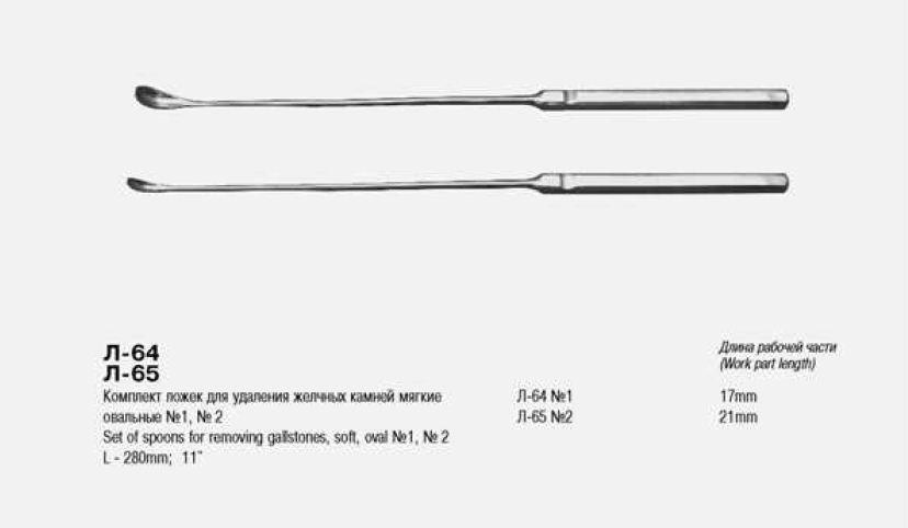 Л-64Н Комплект ложек для удаления желчных камней, овальных мягких