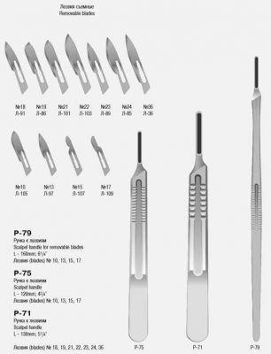 Р-71 Ручка скальпеля большая, 130 мм (№ 4)