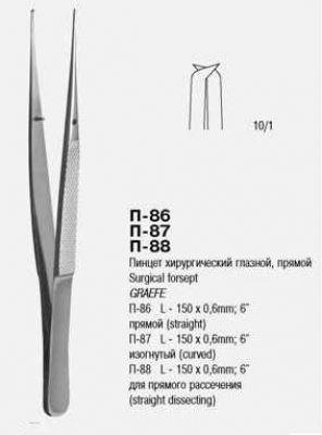 П-87 Пинцет хирургический глазной  изогнутый   Пхи 150х0,6