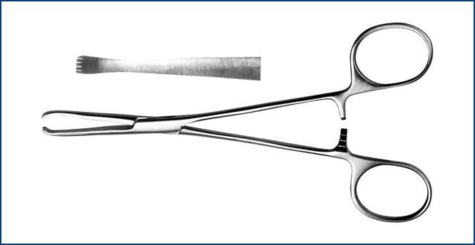 З-126 Зажим для захватывания кишечной стенки прямой, д/новор., 140 мм