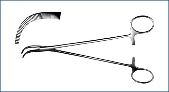 З-13-2 Зажим для желчных протоков изогнутый, 190 мм