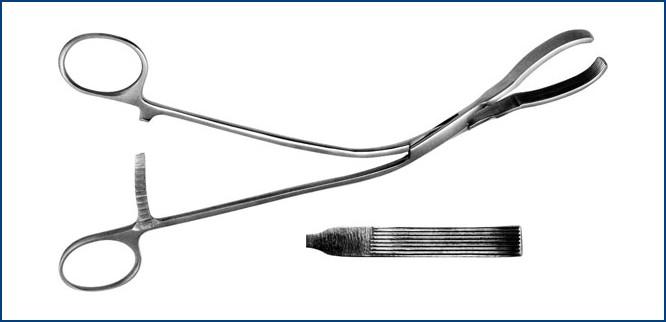 З-44-2 Зажим д/поджелуд. железы, большой, изогнутый, 230 мм