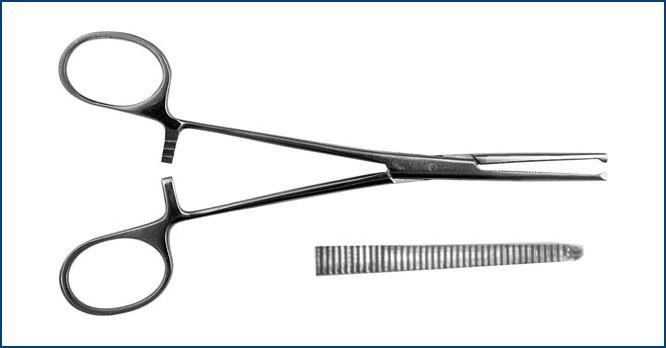 З-5 Зажим к/о 1х2 зубый, зубчатый, прямой, № 2, 160 мм