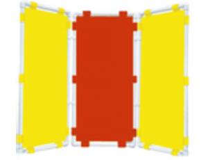 Ширма 3-х секционная (47х96см - каждая секция, цвет: желтый,красный,желтый)