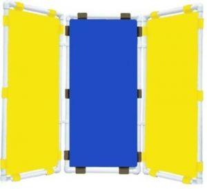 Ширма 3-х секционная (47х96см - каждая секция, цвет: желтый,синий,желтый)